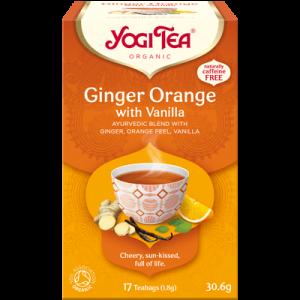 Yogi Tea ginger, orange with vanilla 17 poser