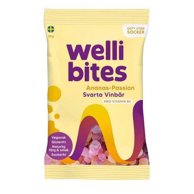 Wellibites ananas-pasjonsfrukt og solbær 70g vegansk