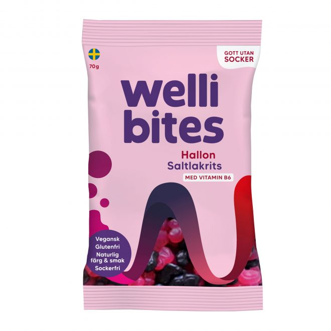 Wellibites bringebær og salt lakris 70 g