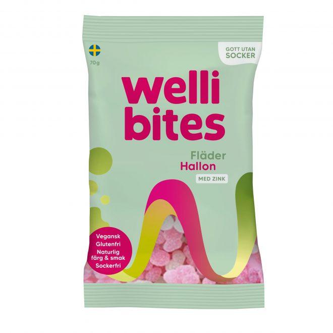 Wellibites hyllebær og bringebær 70 g