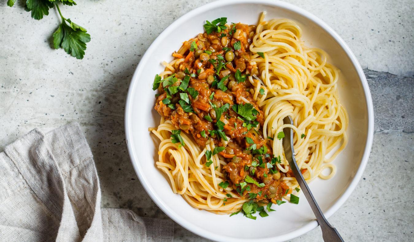 Spaghetti med linsebolognese