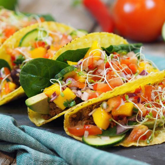 Vegansk taco med soyakjøtt