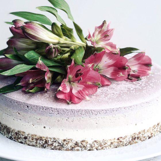 Rå Bringebær og Jordbær kake med kokos og vanilje