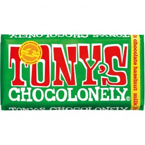 Tony's Chocolonely melkesjokolade med hasselnøtt 180 g