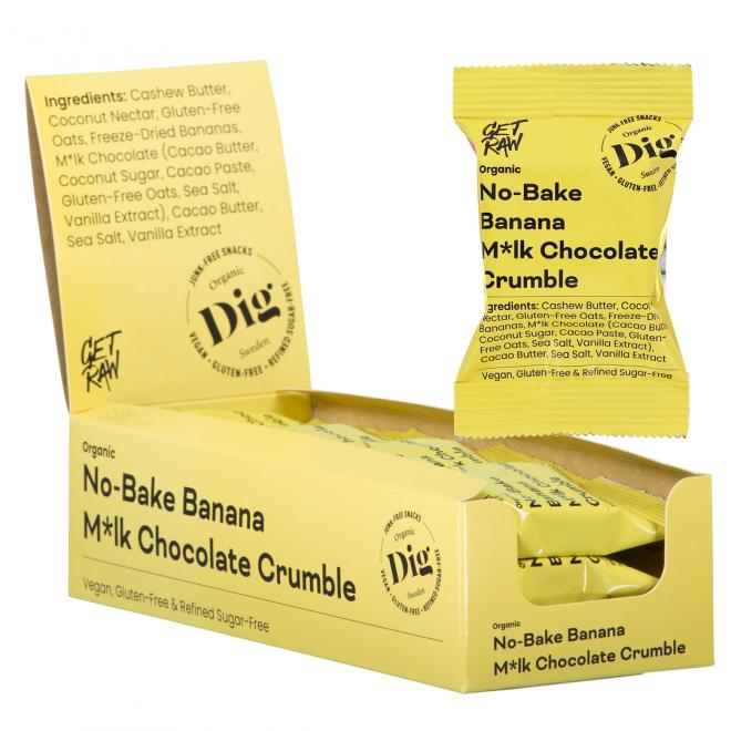 Get Raw banan & melkesjokolade smuldrepaj-bar 35g økologisk