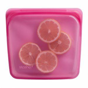 Stasher silikonpose til oppbevaring bringebær rosa 450ml