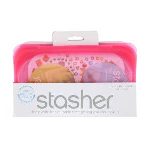 Stasher silicone snack bag raspberry 19 x 12 cm