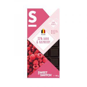 Sweet Switch mørk sjokolade m/bringebær 100g sukkerfri